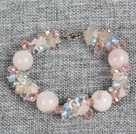 Hot Sale Gorgeous Round Rose Quartz Beads Cluster Blue Pearl Pink Crystal Bracelet