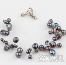 fashion multi strand black pearl bracelet