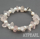 Lovely White Freshwater Pearl And Irregular Shape Rose Quartz Bracelet With Lobster Clasp