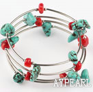 Wholesale handmade red coral and turquoise bracelet