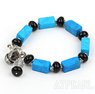 Wholesale blue turquoise agate bracelet with toggle clasp