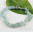 Aquamarine chips  bracelet with toggle clasp