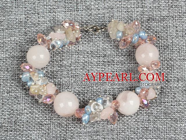 Hot Sale Gorgeous Round Rose Quartz Beads Cluster Blue Pearl Pink Crystal Bracelet