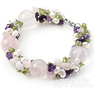 Wholesale Pink Series Assorted Amethyst and Rose Quartz and Peridot Bracelet
