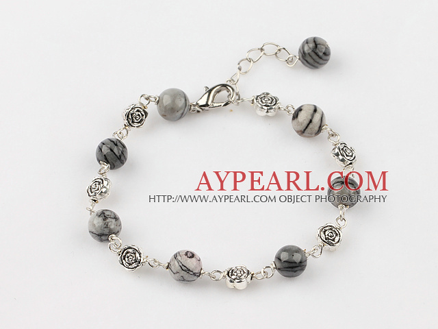 Fashion Round Net Strip Stone Metal Flower Bracelet With Extendable Chain