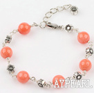 Wholesale orange coral bracelet with extendable chain