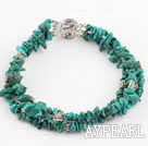 Wholesale three strand natural turquoise bracelet