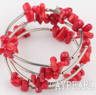 Beautiful Mixed Shape Red Coral Metal Wrap Charm Bracelet
