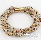 Wholesale beautiful 3-4mm pearl and glass beads bracelet with magnetic clasp
