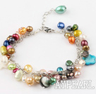 Wholesale dyed colorful pearl bracelet with extendable chain