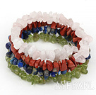 Multi Strand Rose Quartz Red Jasper Lapis And Yellow Olive Chips Stone Elastic Wrap Bracelet
