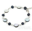 Wholesale pearl and black lip shell bracelet with extendable chain