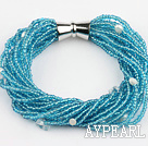 sky blue lampwork glass beads pearl bracelet with magnetic clasp