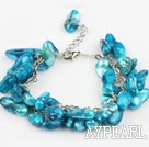 Wholesale dyed blue pearl bracelet with metal chain and lobster clasp