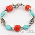 Wholesale turquoise and coral bracelet with toggle clasp