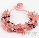 Wholesale black pearl cherry quartze bracelet