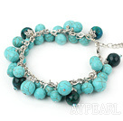 Wholesale phoenix stone and burst pattern turquoise bracelet with metal chain and lobster clasp