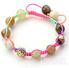 Multi Color 10mm Round Colorful Jade Stone and Rhinestone Beads Adjustable Drawstring Bracelet