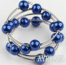 Fashion 12Mm Sapphire Blue Acrylic Beads Wired Wrap Bangle Bracelet