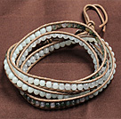 Fashion Style Amazone Stone Agate White Jade Beads Wrap Bangle Bracelet