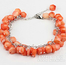 Wholesale Polygon Orange Color Coral Beaded Bracelet With Extendable Chain