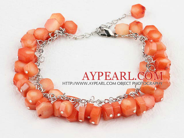 Polygon Orange Color Coral Beaded Bracelet With Extendable Chain
