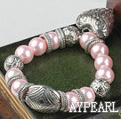 Wholesale Fashion Pink Round Acrylic Pearl And Engraved Metal Charm Heart Pendant Bracelet