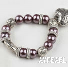 Fashion Purple Round Acrylic Pearl And Engraved Metal Charm Heart Pendant Bracelet
