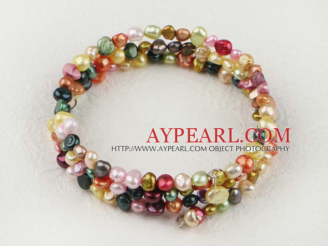 Fashion Multi Strand Multi Color Freshwater Pearl Elastic Wrap Bangle Bracelet