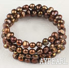 Wholesale 6-7Mm Golden Brown Fresh Water Pearl Beaded Bracelet