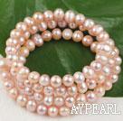 Wholesale pink freshwater pearl wrap bangle bracelet