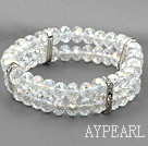 Wholesale multi strand shinning 8mm white crystal bracelet