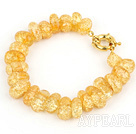 Wholesale Fashion Yellow Burst Pattern Crystal Bracelet With Golden Moonight Clasp