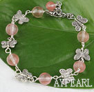 Wholesale 7.5 inches cherry quartze butterfly charm bracelet with extendable chain
