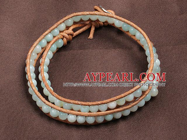 Fashion Style Amazon Stone Beads Wrap Bangle Bracelet