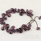 Fashion Hand-Knitted Teardrop Amethyst Bracelet With Adjustable Cords