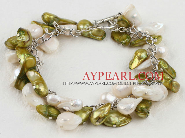 Fashion White And Dyed Yellowish Green Blister Freshwater Pearl Link Bracelet