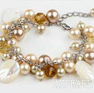 Popular Round Seashell Bead Crystal And White Leaf Shell Loop Chain Bracelet With Lobster Clasp
