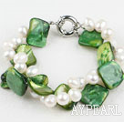 Natural White Fresh Water Pearl And Green Shell Bracelet With Moonight Clasp