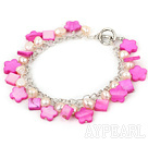 Wholesale natural pink pearl and pink shell bracelet with toggle clasp