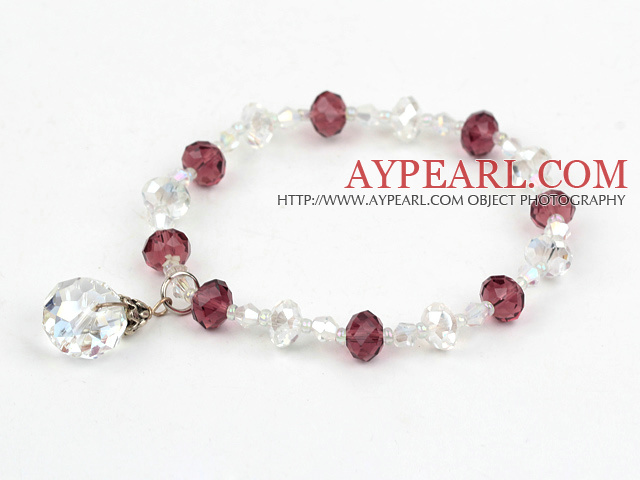 Fashion Wine Red And White Czech Crystal Elastic Stretch Bracelet With White Teardrop Pendant