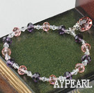 Wholesale Fashion Pink Purple And White Czech Crystal Elastic Stretch Bracelet With Pink Teardrop Pendant