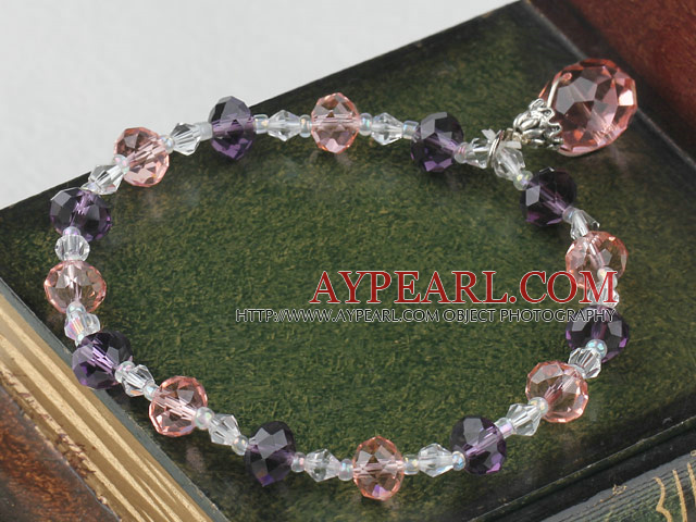 Fashion Pink Purple And White Czech Crystal Elastic Stretch Bracelet With Pink Teardrop Pendant