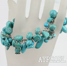 Mixed Shape Blue Turquoise Link Charm Bracelet With Toggle Clasp