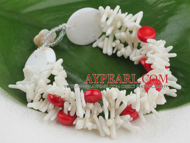 Elegant Mixted White Teeth And Flat Round Red Coral And Large Stone Bracelet With Flower Clasp