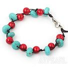 Wholesale blue turquoise red bloodstone bracelet