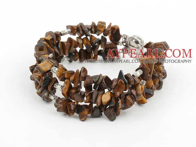 Popular Three Strand Chipped Tiger Eye Stone Bracelet With Multi-Row Clasp
