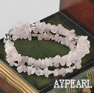 Wholesale Favorite 3-Strand Chipped Rose Quartz And Metal Charm Bracelet With Metal Closure