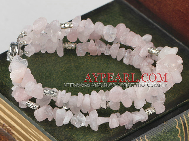 Favorite 3-Strand Chipped Rose Quartz And Metal Charm Bracelet With Metal Closure
