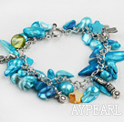Fashion Sky Blue Blister Pearl And Star Shell Loop Chain Bracelet With Toggle Clasp